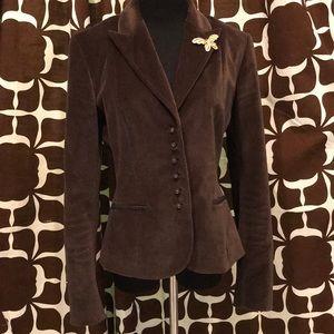 Brown Velvet Tahari Band Style Sport Fitted Blazer